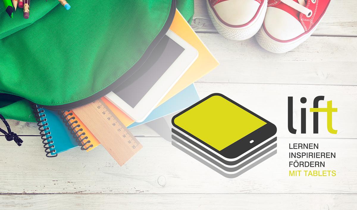 LIFT Projekt - Logo - Schultasche mit Schulsachen und Turnschuhen